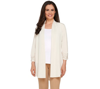 Susan Graver Liquid Knit Open Front 3/4 Ruched Sleeve Cardigan - A265840