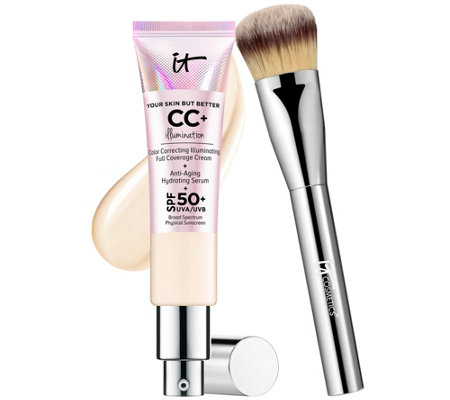 IT Cosmetics Full Coverage SPF 50 CC Cream Illumination w/ Plush Brush