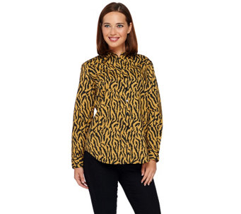 Joan Rivers Zebra Print Button Front Shirt with Long Sleeves - A267540