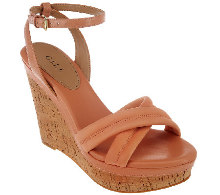 G.I.L.I. Leather Ankle Strap Wedges - Danna