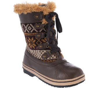 MUK LUKS Alexa Lace-Up Water Resistant Ankle Boot with Thinsulate - A268940