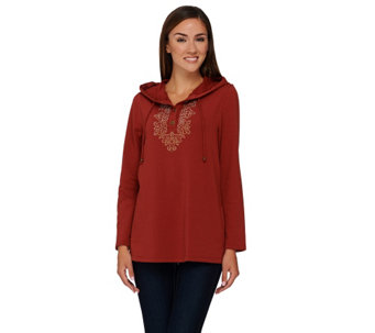 Susan Graver Artisan French Terry Hooded Pullover with Embellishment - A269240
