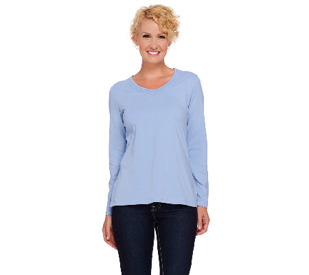 Denim & Co. Essentials Perfect Jersey Long Sleeve Top w/Neckline Trim