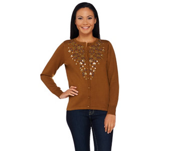 Bob Mackie's Button Front Cardigan with Embroidery and Sequin Detail - A269540