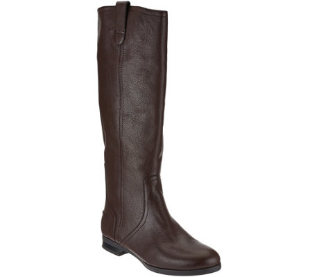 H by Halston Pebble Leather Riding Boots - Amy