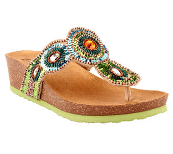 """As Is"" White Mountain Beaded Thong Sandals - Blast - A270240"