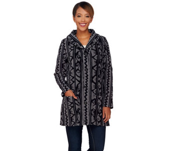 Denim & Co. Printed Fleece Long Sleeve Shawl Collar Jacket - A272140