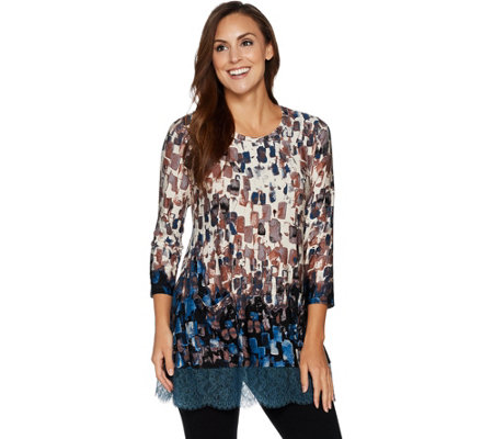 LOGO by Lori Goldstein Printed Knit Top with Lace Trim