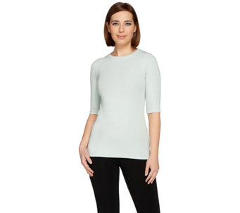 G.I.L.I. Ribbed Knit Elbow Sleeve Essentials T-shirt - A273440