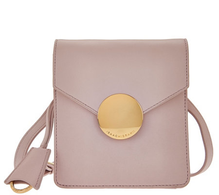 Isaac Mizrahi Live! Whitney Lamb Leather Crossbody w/ Circle Hardware
