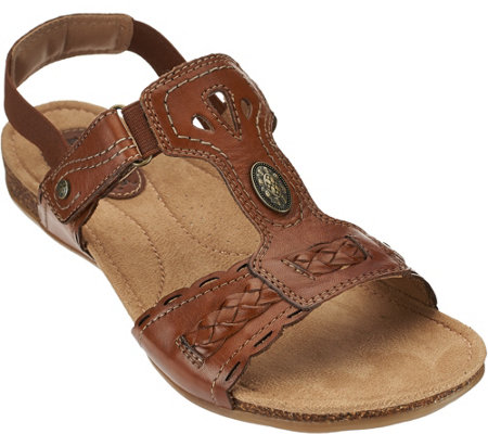 Earth Origins Leather T-strap Sandals with Backstrap - Trudy