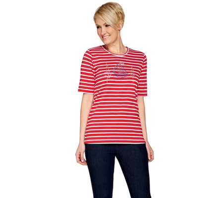 Quacker Factory Nautical Novelty Striped Elbow Sleeve T-shirt