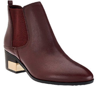 """As Is"" Marc Fisher Leather Stacked Heel Chelsea Boots - Danton - A275640"