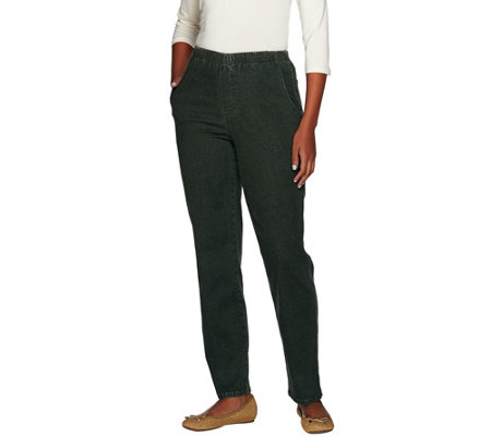 """As Is"" Denim & Co. ""How Timeless"" Petite 4 Pocket Pull-On Pants"