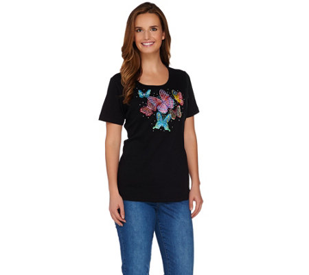 Quacker Factory Butterfly Embellished Short Sleeve T-shirt