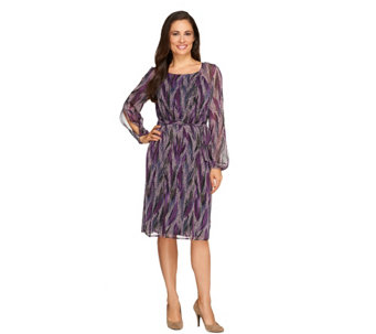 """As Is"" Kelly by Clinton Kelly Feather Print Dress w/ Split Sleeve - A276840"
