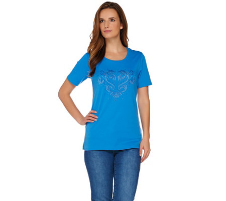 Quacker Factory Blue Bayou Round Neck Short Sleeve T-shirt