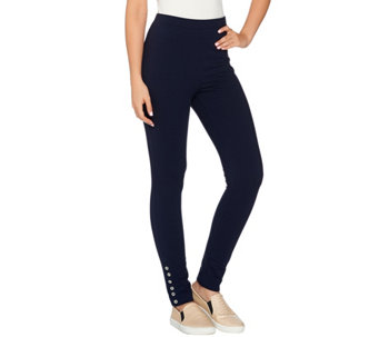 Susan Graver Weekend French Terry Pants with Button Detail - A277840