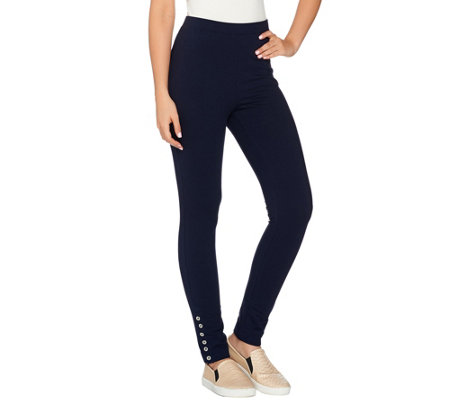 Susan Graver Weekend French Terry Pants with Button Detail