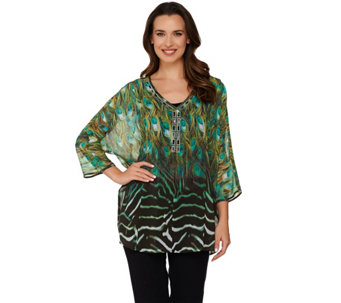 Dennis Basso Placement Print Top with Rhinestones and Tank - A278240