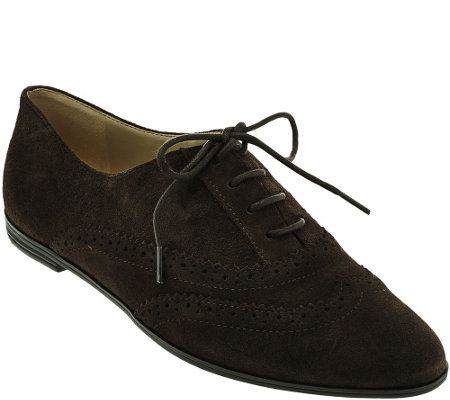 """As Is"" Isaac Mizrahi Live! Suede Oxfords with Pinhole Detail"