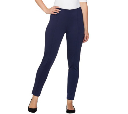Lisa Rinna Collection Ponte Knit Ankle Pants w/ Seam Detail