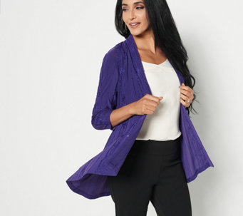 Susan Graver Novelty Knit Embroidered Cardigan - A281140