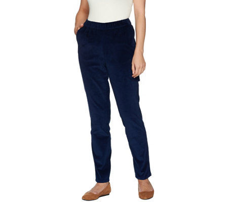 Denim & Co. Regular Slim Leg Wide Wale Corduroy Pants with Pockets