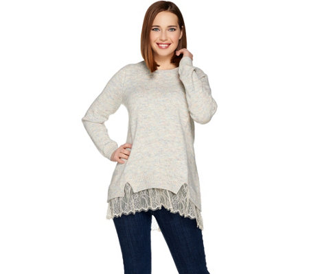 LOGO by Lori Goldstein Sweater Knit Top with Lace Hem