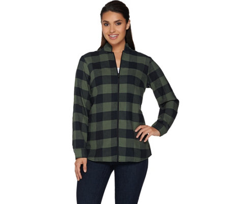 Denim co zip front buffalo check flannel shirt page 1 for Zip front flannel shirt