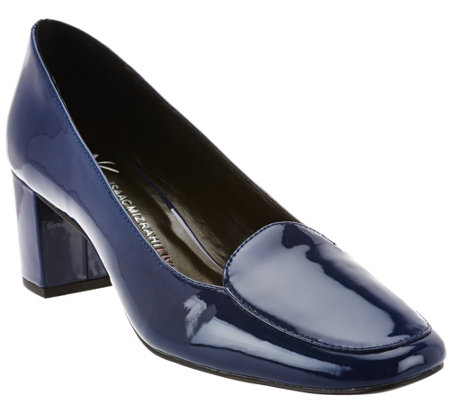 """As Is"" Isaac Mizrahi Live! Patent Leather Pumps with Block Heel"