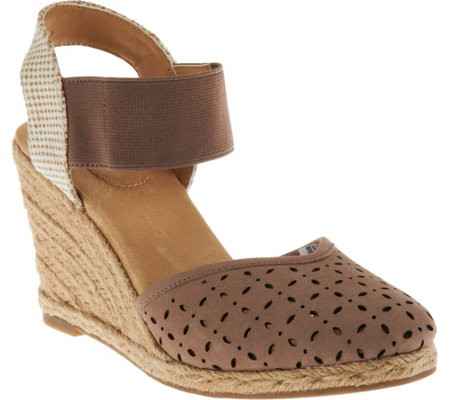 """As Is"" Adam Tucker Suede or Nubuck Perforated Wedges-Brittany"