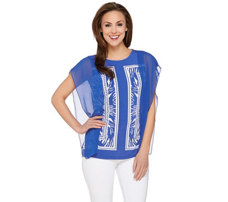 """As Is"" Susan Graver Printed Liquid Knit Top with Sheer Chiffon Panels"