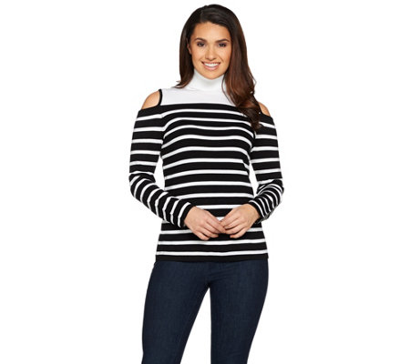 Susan Graver Striped Rayon Nylon Cold Shoulder Sweater