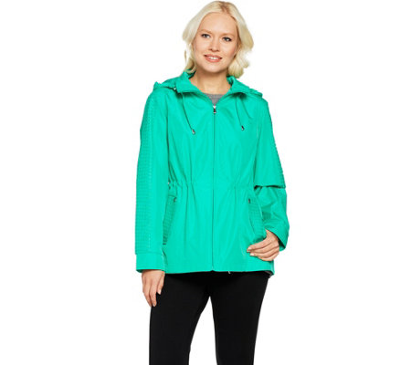Susan Graver Zip Front Anorak Jacket w/ Mesh Accents and Hood