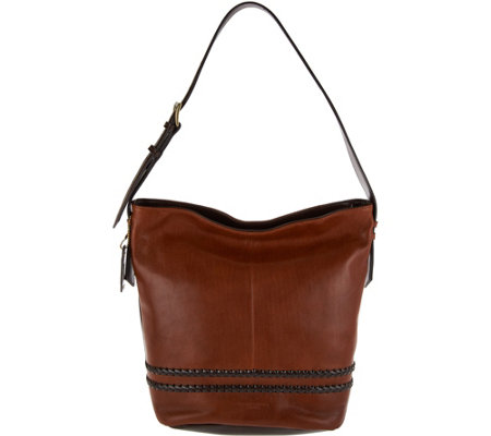 """As Is"" Tignanello Vintage Leather RFID Bucket Hobo Bag"
