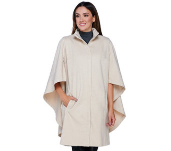 """As Is"" H by Halston Zip Front Knee Length Cape Coat - A293340"