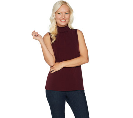 Every Day by Susan Graver Liquid Knit Smocked Mock Neck Top