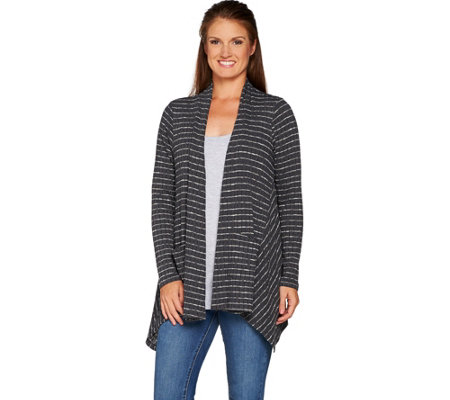 LOGO by Lori Goldstein Striped Rib Knit Cardigan with Godets
