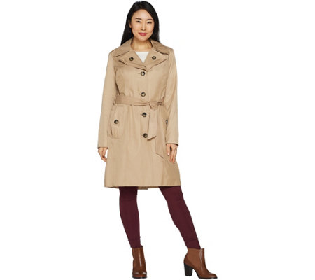 """As Is"" London Fog Women's Water Repellent Trench Coat"