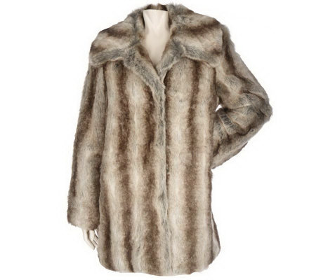 Dennis Basso Printed Faux Fur Coat with Convertible Collar