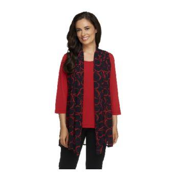 Susan Graver Printed Sheer Chiffon Vest w/ Liquid Knit 3/4 Sleeve Top