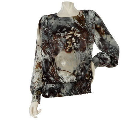 George Simonton Printed Blouse w/Smocked Hem and Pleat Detail
