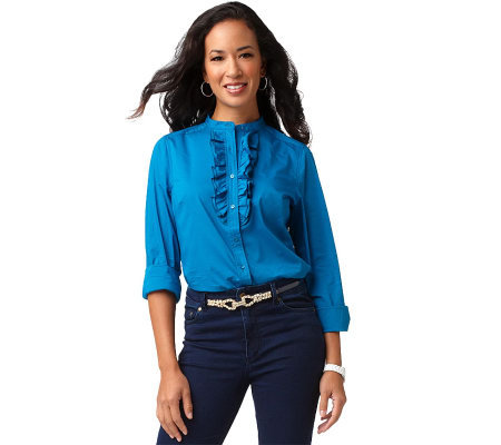 Denim & Co. Long Sleeve Button Front Mandarin Collar Ruffle Shirt