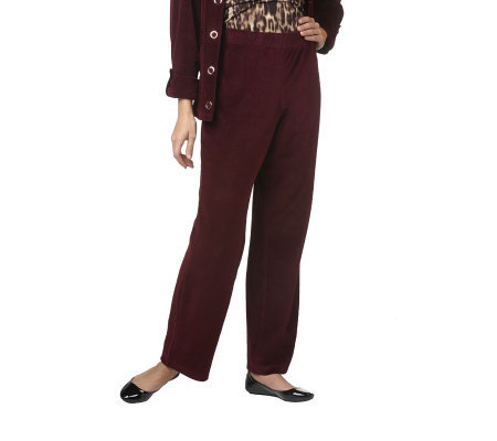 Susan Graver Velour Full Leg Pull-on Regular Pants