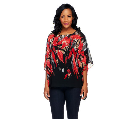 Susan Graver Border Print Scarf Top with Bateau Neckline