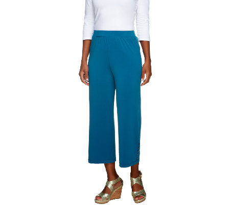 George Simonton Knit Capri Pants with Side Button Detail