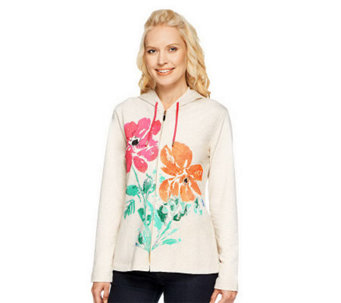 Susan Graver Weekend French Terry Placement Print Hooded Jacket - A233841