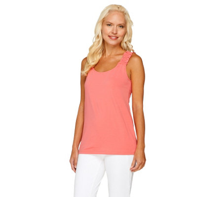Denim & Co. Scoopneck Knit Tank Top with Shirred Straps