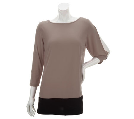 Nina Leonard Jewel Neck 3/4 Sleeve Colorblock Knit Top